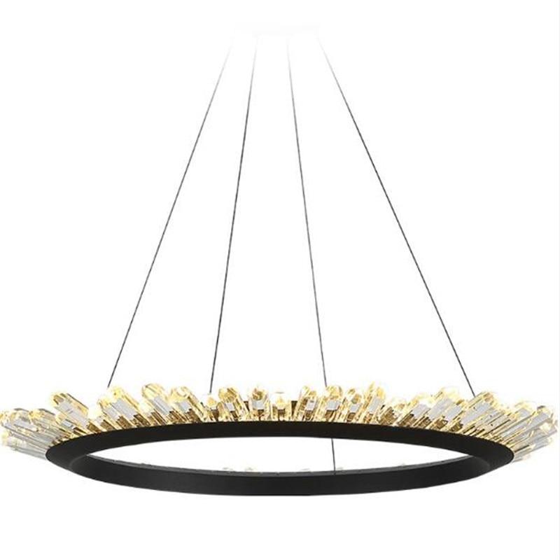 Post-Modern Luxurious K9 Crystal Crown Iron Led Pendant Light for Foyer Dining Room Bedroom 50/60/80/200cm Suspension Lighting