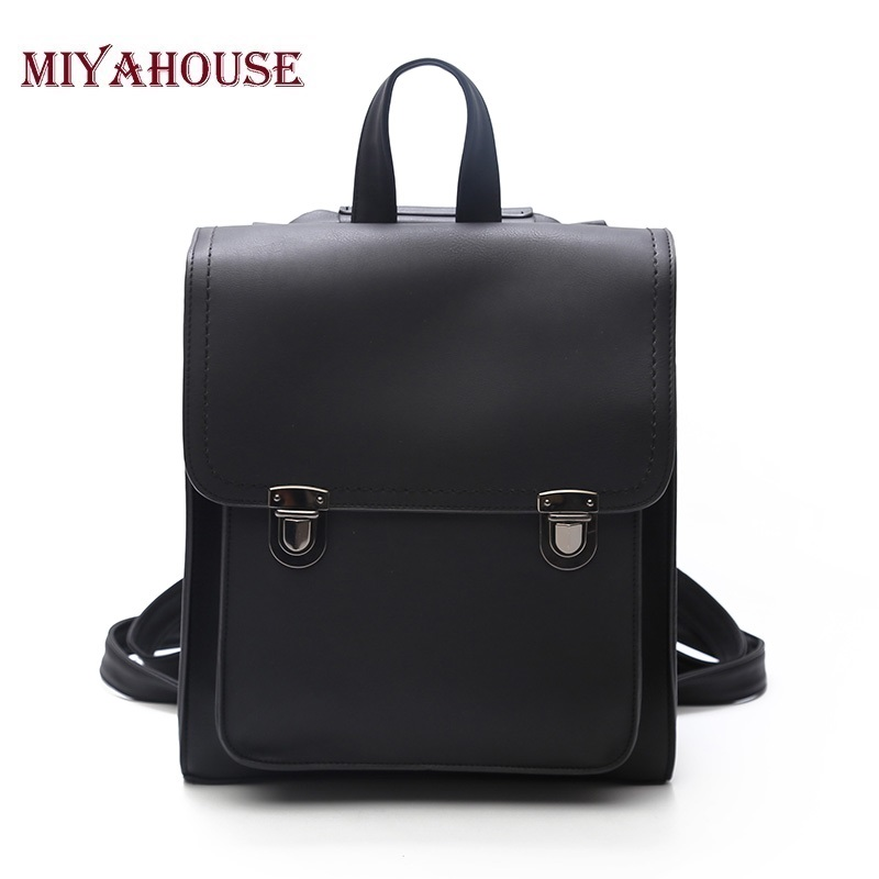 Miyahouse New Fashion PU Leather Women Backpack  High Quality Travel Female Mochila Vintage School Bags For Teenagers Girls