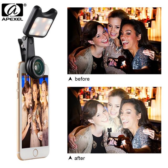 APEXEL LED Selfie Light Fill-in light +0.36X Wide Angle Lens + 15X Macro Lens Kit For iPhone Samsung phones 4