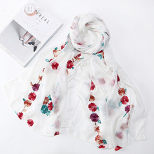 Embroidered silk scarf spring and summer Silk wild long small flower embroidery shawl
