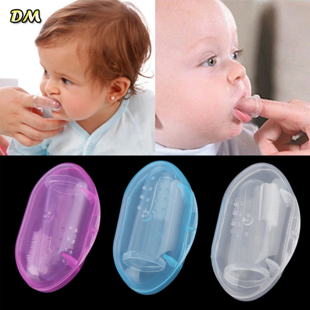 1000 Pcs Baby Finger Toothbrushes Baby Items Children Teeth Clear Massage Soft Silicone Teeth Rubber Massager Brush with box Hot