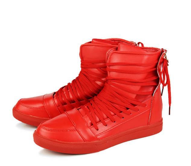 Estudante Loop Partes Vermelho Preto Casuais Botas Até Pu Preto Rendas Sapatos Altas Tabuleiro Superiores Hook Dos 2018 branco amp; Branco Masculinos Homens vermelho De Couro RwxZnZz