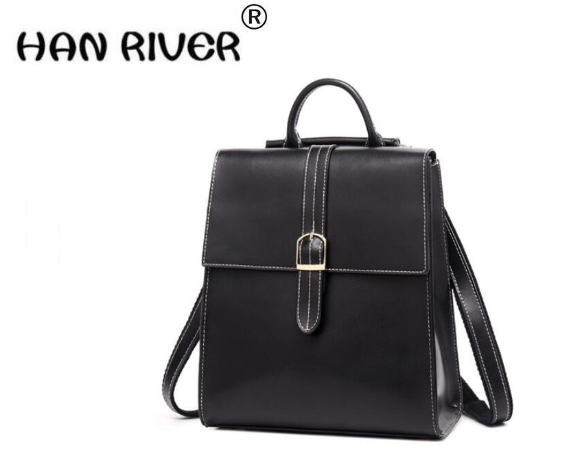 HANRIVER  2018 New style pure color leather college style fashion simple backpack shouldersHANRIVER  2018 New style pure color leather college style fashion simple backpack shoulders