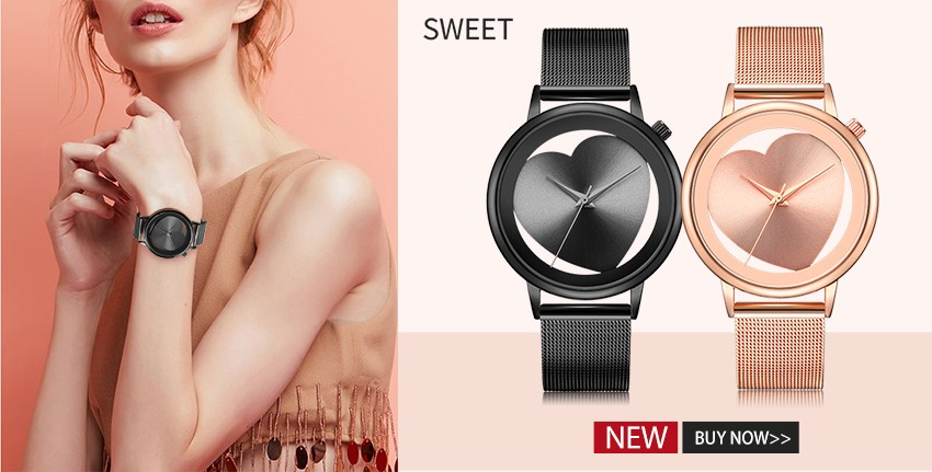 Women Watches Quartz Hollow Analog Stainless Steel Mesh Band Rose Gold Luxury Brand Design Wristwatch Fashion Dress New 1