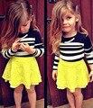 Дети девушки бутик комплектов одежды осень детская одежда С Длинным Рукавом черный белой Полосой Топ + желтый кружева туту короткая Юбка DY125A