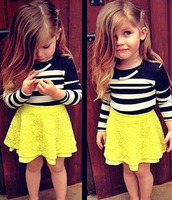 Children Girls Boutique Clothing Sets Autumn Kids Clothes Long Sleeve Black White Stripe Top Yellow Lace