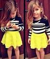 Niños niñas que arropan boutique de otoño embroma la ropa de Manga Larga negro Raya blanca Top + amarillo lace tutu Falda corta DY125A
