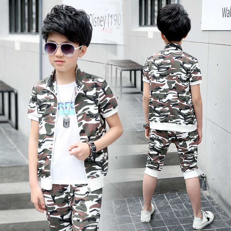Child Suit Summer Children's Garment New Product Catamite Short Sleeve Camouflage Suit Seven Part Pants Two Pieces Kids Clothing summer child suit new pattern girl korean salopettes twinset child fashion suit 2 pieces kids clothing sets suits