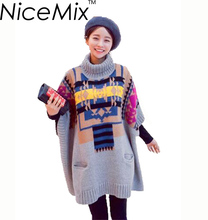 NiceMix 2017 Winter Thick Sweater Women Vintage Cape Oversize Batwing Poncho Sweater Female Knitted Sweater Turtleneck Pullovers(China)