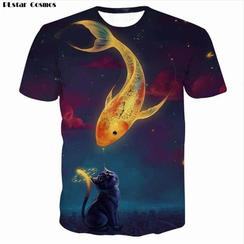 Harajuku Kids Funny T-shirt Men/Women 3d print cat eat fish T-shirts tshirt Summer Tops Tees Shirts Hip Hop T shirt 5XL