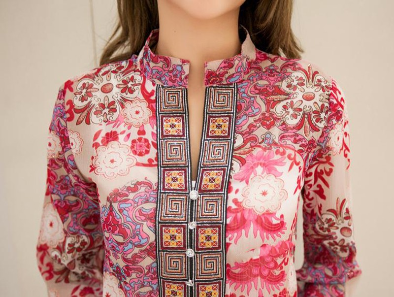 2017 new fashion kobiety bluzka koszula lato w stylu kobiety vestidos szyfonowa Mini Suknia Plus rozmiar 4XL floral Casual Topy Blusas Mujer 17