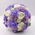 Púrpura brillante marfil flor ramos de novia hechos a mano ramo de novia artificial ramos de novia de la boda accesorios made in China