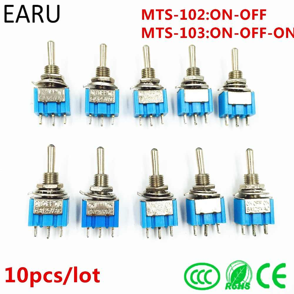 10 Pcs DIY Toggle Switch ON-OFF-ON/3Pin ON-OFF 3 Posisi Menempel MTS-103 MTS-102 AC 125 V/6A 250 V/3A Daya Tombol Switch Mobil