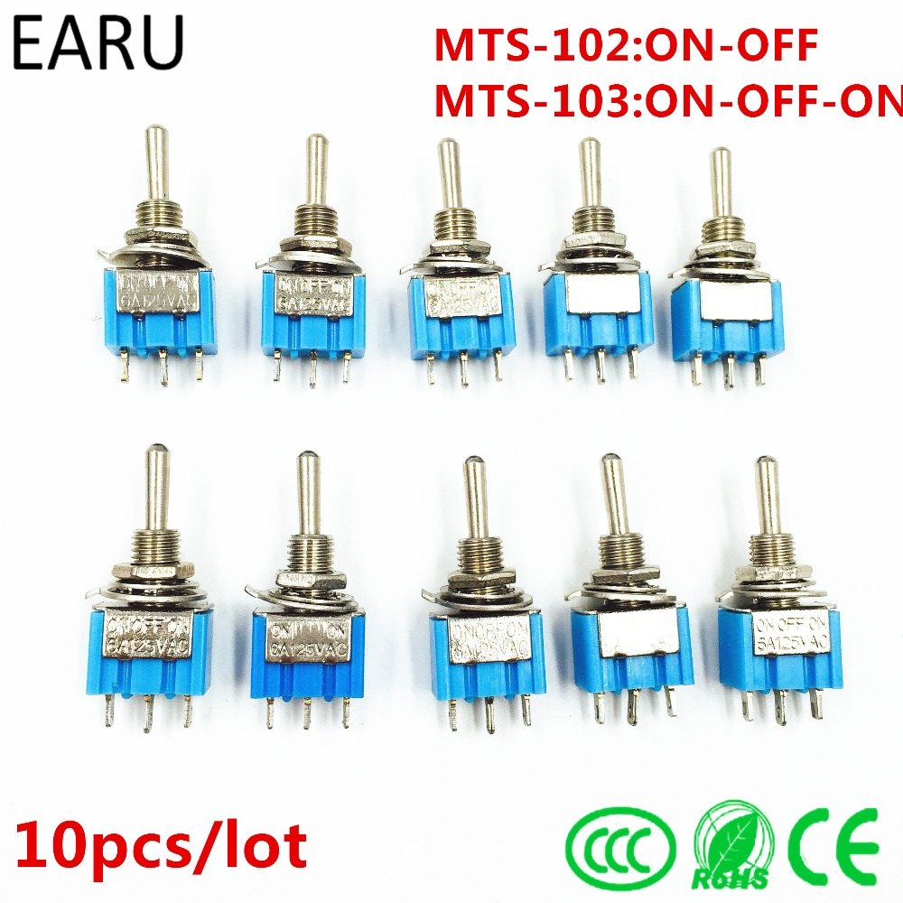 10Pcs DIY Toggle Switch ON-OFF-ON / ON-OFF 3Pin 3 Position Latching MTS-103 MTS-102 AC 125V/6A 250V/3A Power Button Switch Car 10pcs dark blue 3 position spst latching switches mini on off on toggle switch 6a 125vac 3a 250vac for switching lights motors