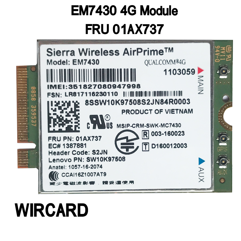 EM7430 FDD/TDD LTE 4G Module WCDMA GNSS 4G Card For Thinkpad X1C Gen5 Notebook T470S Lt 10 Tablet Laptop