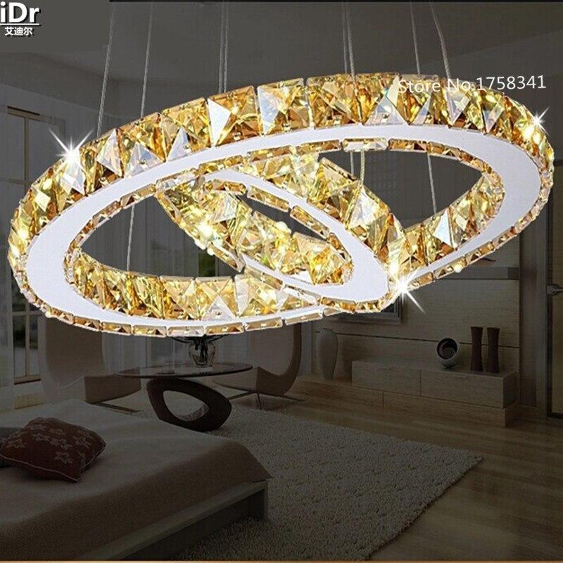 2 anneaux LED lustres créatif rond restaurant moderne cristal lampe salon salle à manger éclairage jardin lampes dorées