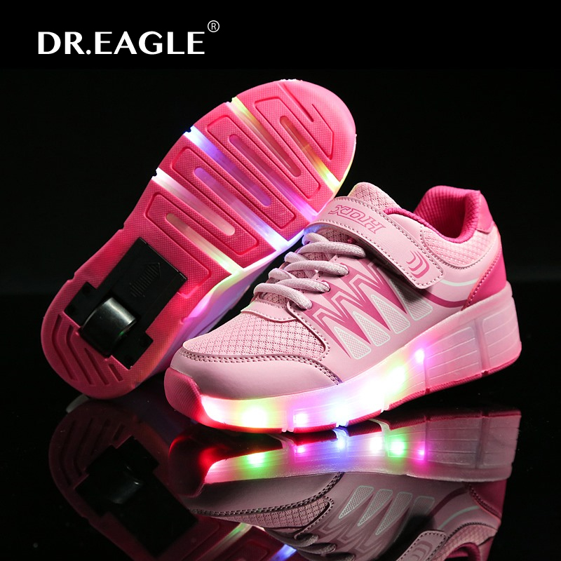 ФОТО Sneakers USB Charged kids led light up roller SHOES WITH LIGHTS To CHILDREN shoe rolling for boys child wheel SHOES WITH WHEELS