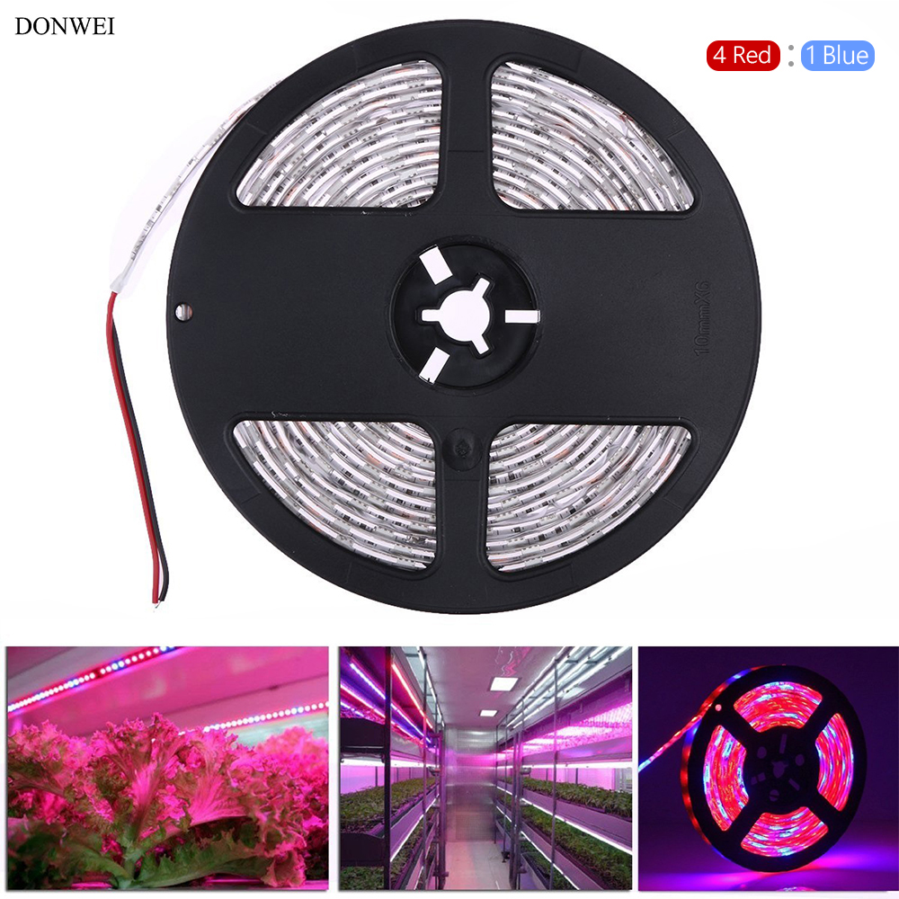 DONWEI 1M 3M 5M Plant Growing LED Strip Light Waterproof 5050 SMD 4 RED: 1 Blue Flexible LED String Light Plant Growth Lights