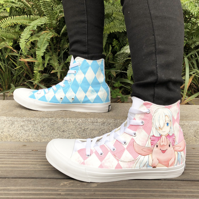 Wen Anime Shoes Hand Painted Canvas Sneaker Design Nanatsu No Taizai Graffiti Skateboarding Shoes High Top Lace Up Gym Trainers wen hand painted shoes design the seven deadly sins nanatsu no taizai meliodas elizabeth liones hawk anime canvas sneakers