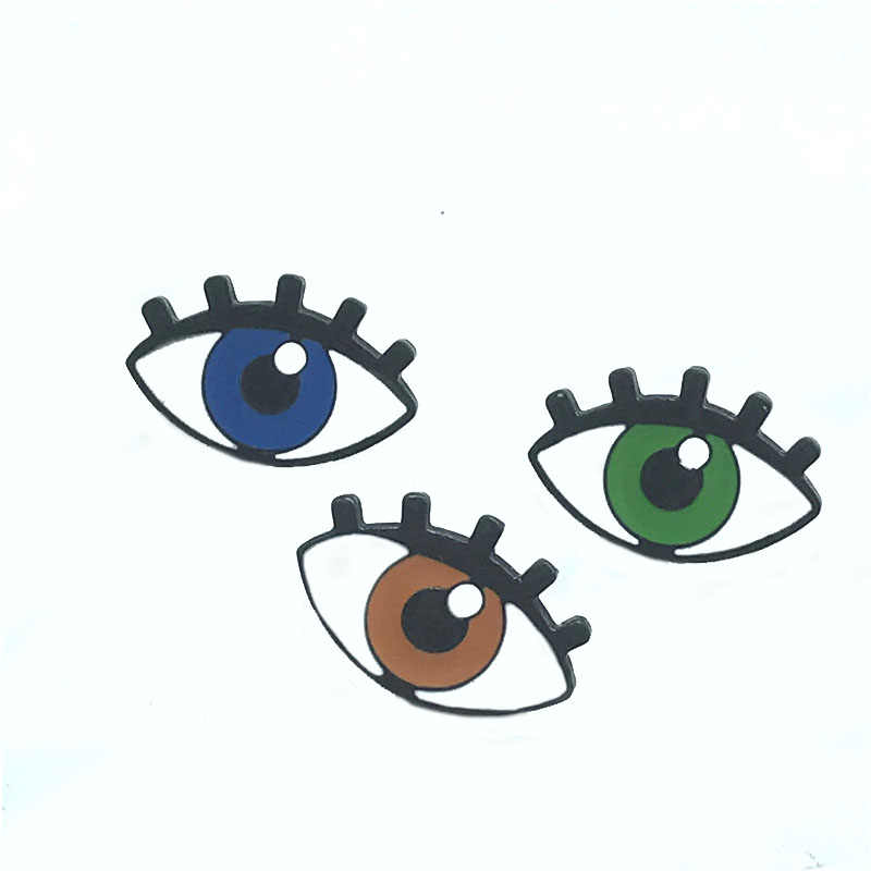 ใหม่ตาใหญ่เข็มกลัดสีเทา/สีฟ้า/สีเขียวนักเรียน big eyes ขนตายาว badge fun ฮาโลวีนเสื้อผ้า denim จี้เครื่องประดับของขวัญ