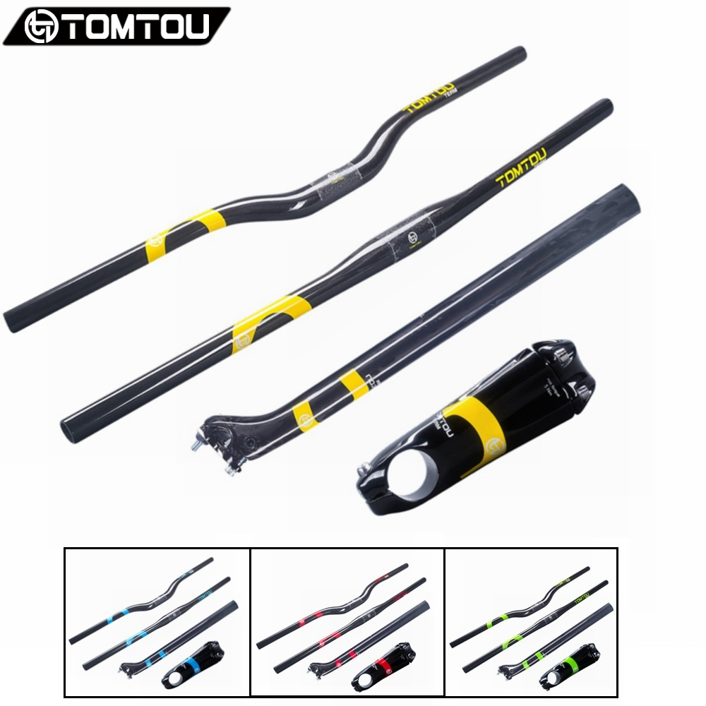 TOMTOU Full UD Carbon Mountain Bicycle Handlebar Stem Seatpost Cycling MTB Handlebars Set Bike Parts cycling king c k 2015 mtb handlebar bicycle stem carbon seatpost tube flat or riser mountain bike bar top carbon super set