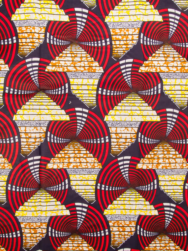 Wholesale African Cloth Super Deluxe Wax Red Yellow Fan Patterns For Impressive African Patterns