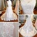 New Uma Linha Mulher Querida Trem Da Varredura Appliqued Do Vestido de Casamento Robe De Mariage Foto Carretel 2016 Com Frisos AS101