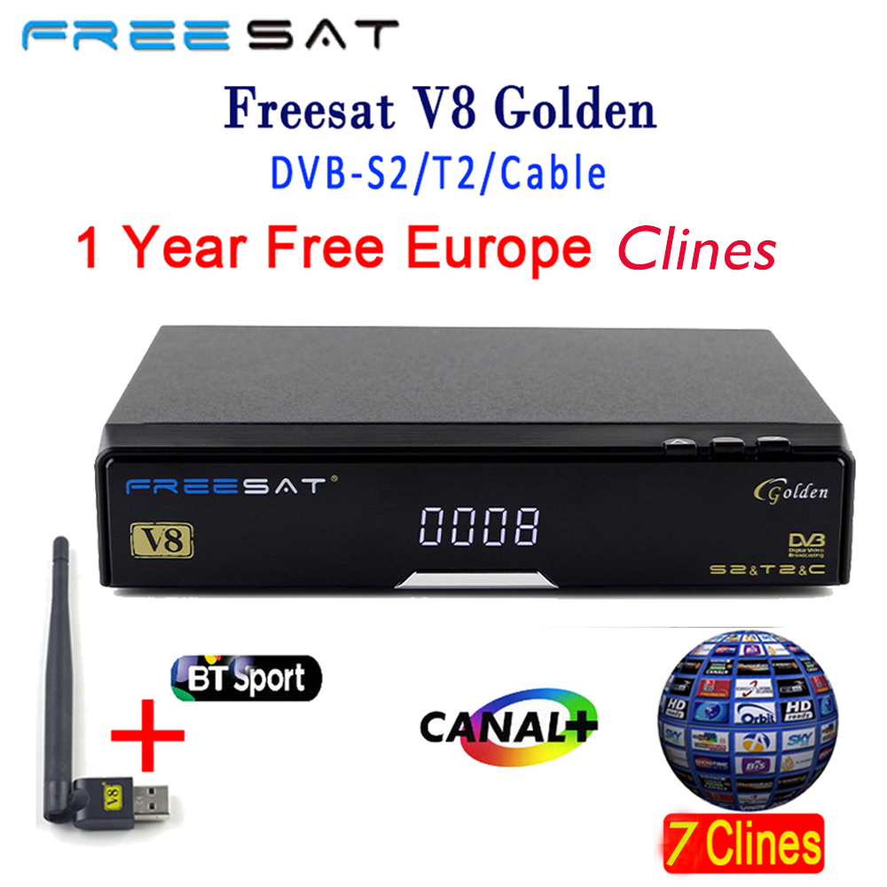 2PCS Genuine Freesat V8 Golden DVB-S2 DVB-T2 DVB-C Satellite Receiver with 4 Clines Clines For 1 Year with USB WIFI top box de it es channels dvb s s2 satellite fta lines 1 year cccam clines newcamd usb wifi satellite tv receiver for free shipping