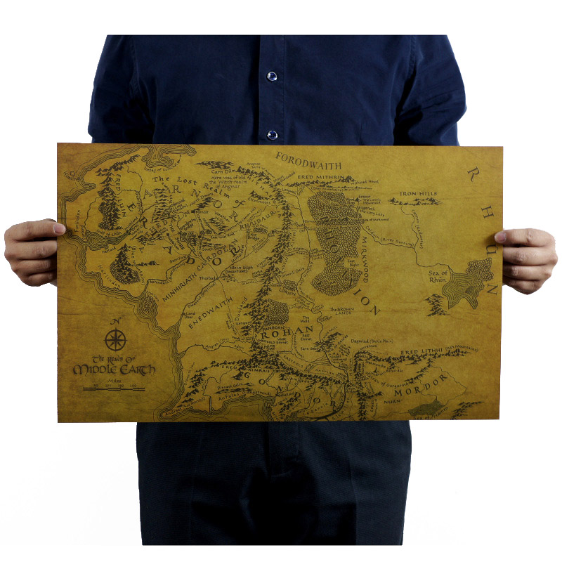 Lord of Rings Map Wall Sticker Middle Earth Kraft Paper Poster Map Home Garage Wall Art Decoration DIY Retro School Prints