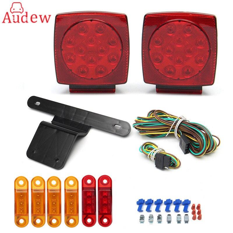 LED боковой свет красный и желтый хвост тормоз остановить свет Кронштейн и жгут грузовик прицеп кв. СИД свет комплект