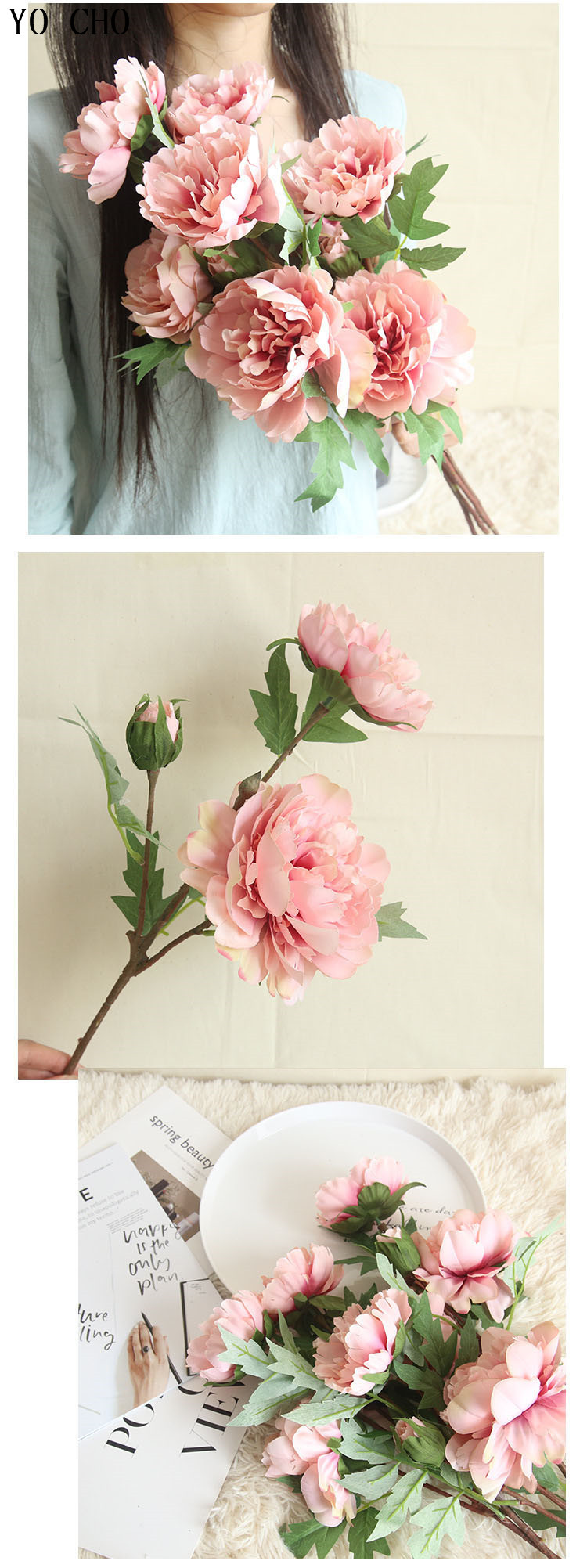 Chinese national flower peonies  simulation big peony flowers for home, living room, bedroom, party,wedding,hotel,shopwindow  decoration arranging flower accessories for christmas new year Halloween Thanksgiving Anniversari (5)