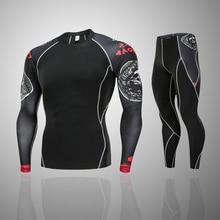 new men and women jogging thermal underwear base layer Compression sportswear MMA rashgard kit 2 piece Gym T-shirt suits