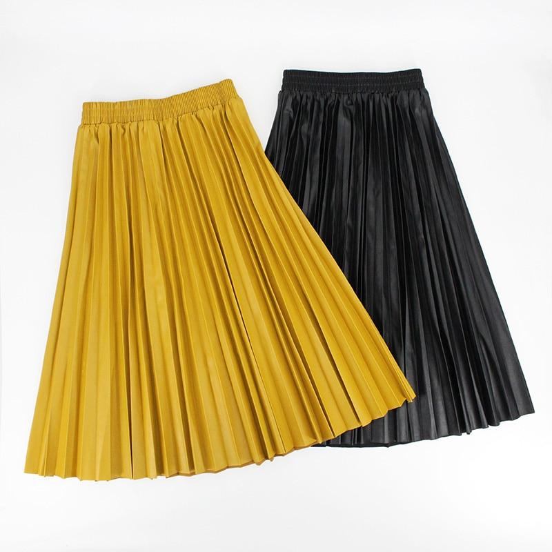 Autumn Winter Women Skirts Pleated Leather Skirt High Waist Elastic Waist A Line Knee Length Women's Skirt Faldas Mujer