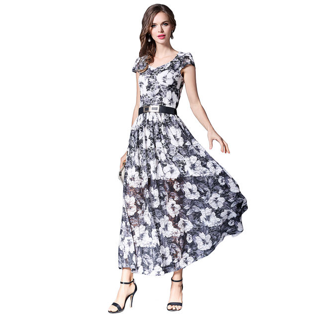 e07c754676 Women Lace Maxi Dress Petal Sleeves Square Collar Vestidos Mujer Floral  Printed High Waist Sashes Female Plus Size Robes N609YS