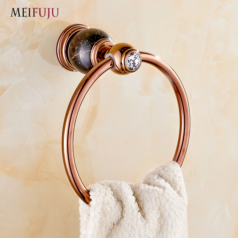 Jade Towel Ring Copper Rose Gold Marble Bathroom Accessories Products Towel Holder Bar European Style home decoration useful