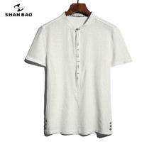 2016 New Men S Short Sleeved Linen Shirt Simple Solid Color Slim Large Size Fashion Casual