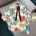 Top Grade Print Blouses High Quality Loose Women Batwing Sleeve Designer Silk Blouse 2017 Summer New