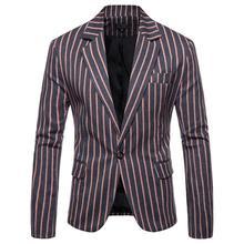 купить Business Casual Stripe Wedding suits for Men Blazer designs Slim Fit Banquet Mens Blazers And Suit Jackets Navy Blue Gray дешево