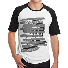 cool kids don't dance with you young men t shirts Round Collar 3/4 Sleeve Raglan graphic