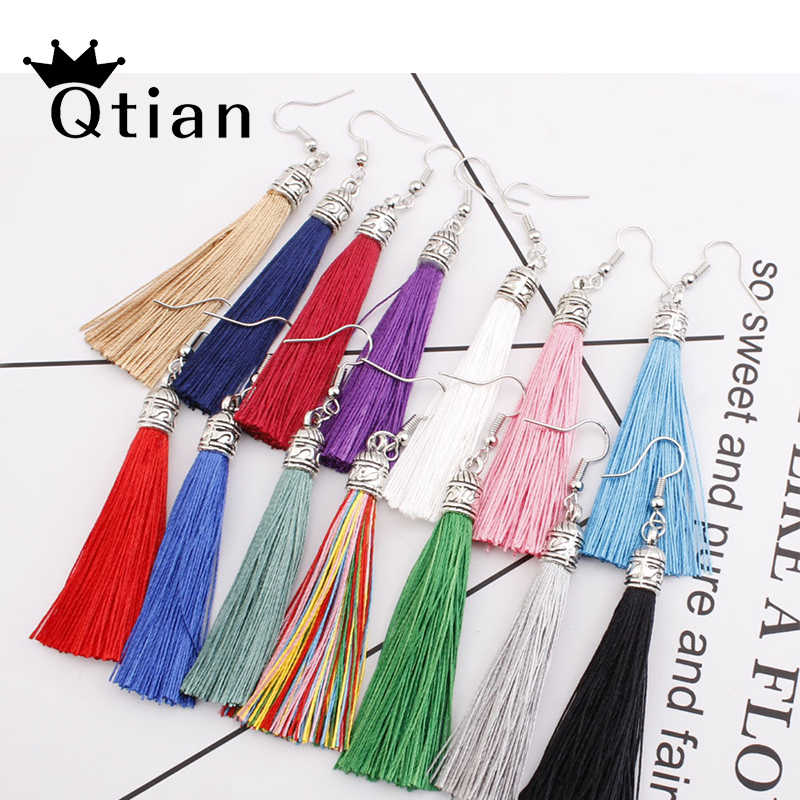 Qtian Handmade Tassel Earrings 2019 Trendy Bohemian Black Red 14 colors Long Dangles Vintage Tassel Earrings For Women pendiente