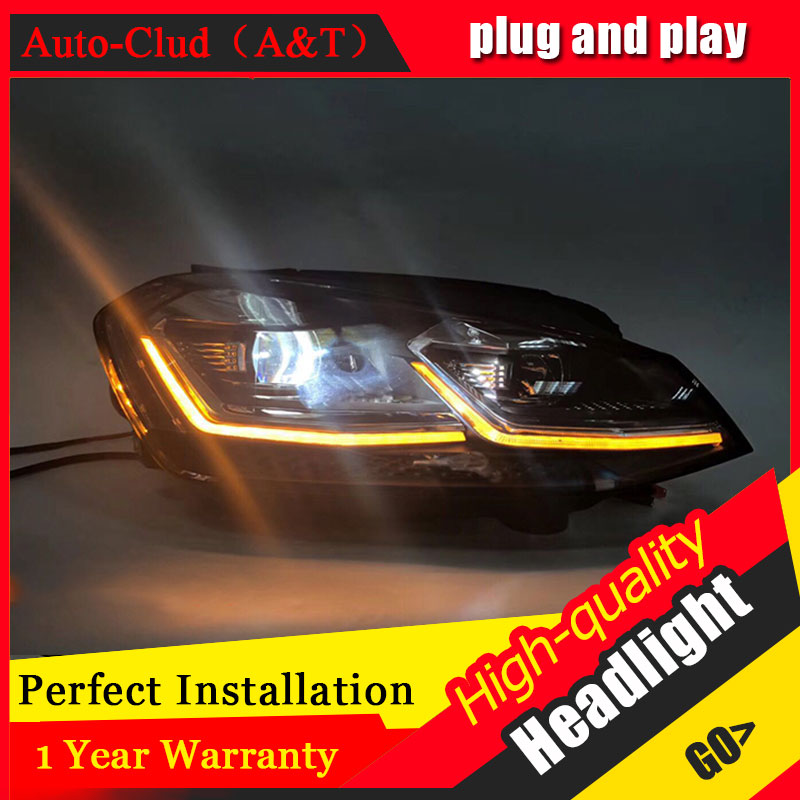Auto Clud Car Styling For VW golf 7 headlights 2013-2017 For golf 7 head lamp led DRL front Bi-Xenon Lens Double Beam HID KIT auto clud style led head lamp for nissan teana 2013 2016 led headlights signal led drl hid bi xenon lens low beam