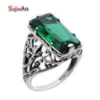 Szjinao Fashion Jewelry 925 Sterling Silver Jewelry Green Stone Emerald Silver Rings for Womens Wedding Rings Free Gift Box
