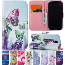 Wallet Flip Leather Case For Samsung Galaxy S4 i9500 S IV SIV Mobile Phone Lavender Case Capa Leather Silicone Back Cover P23Z pepk shockproof case gorilla glass for samsung galaxy s4 iv i9500