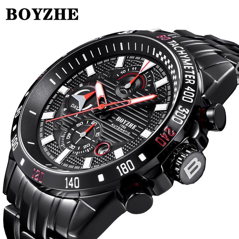 BOYZHE nouveaux hommes automatique mécanique haut tendance marque de luxe montre de Sport en acier inoxydable montre Relogio Masculino hommes \ x27s montre