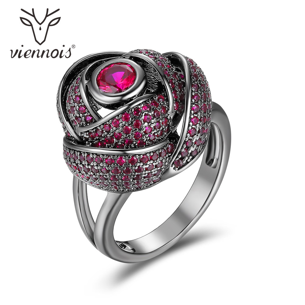 цена Viennois Punk Gun Color Cocktail Rings for Women Red Rhinestone Rose Flower Female Party Rings Gothic Jewelry