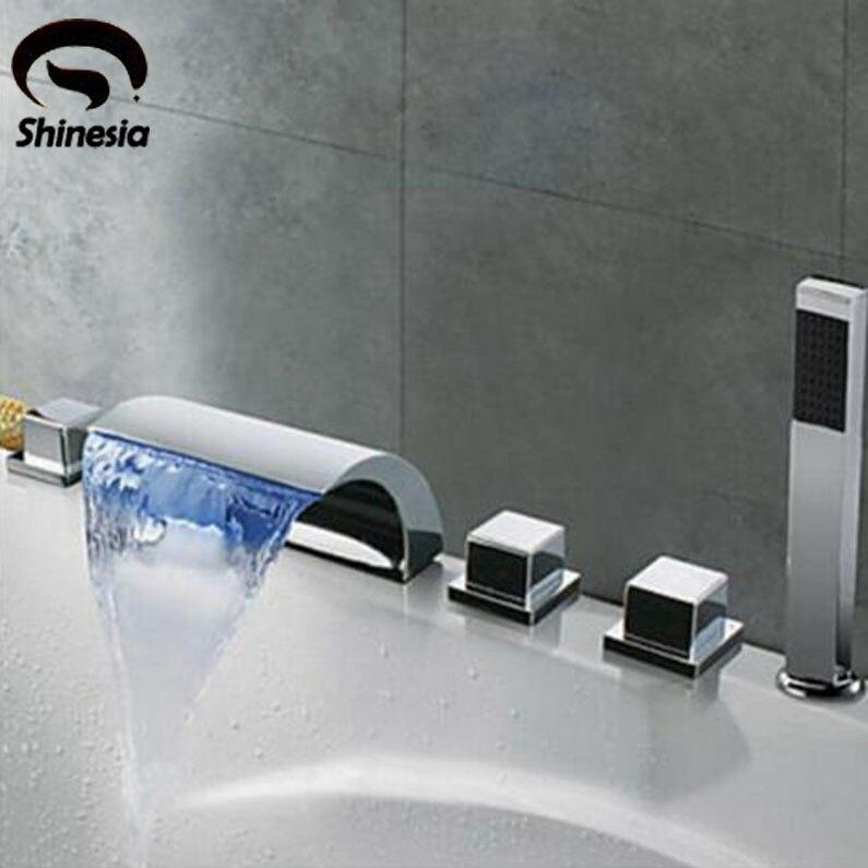 Бортике 5 шт. ванной кран светодиодный носик водопада смесители хром латунь Ванная комната смеситель для душа с Handshower