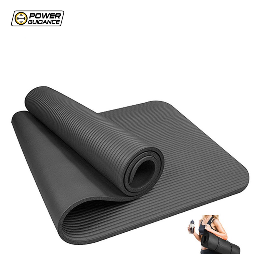 Power Guidance 10MM Thick NBR Yoga Mat For Fitness Non-slip Fitness Pad For Pilates Exercise soumit 5 colors professional yoga socks insoles ballet non slip five finger toe sport pilates massaging socks insole for women