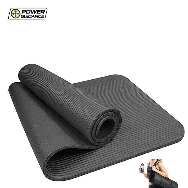 Power Guidance 10MM Thick NBR Yoga Mat For Fitness  Non-slip Fitness Pad  For Pilates Exercise