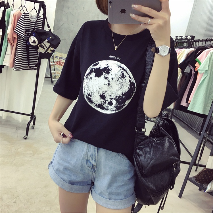 HTB1m4LePFXXXXaDXXXXq6xXFXXXn - Summer Planet Earth Printed Loose Short Sleeve T Shirts