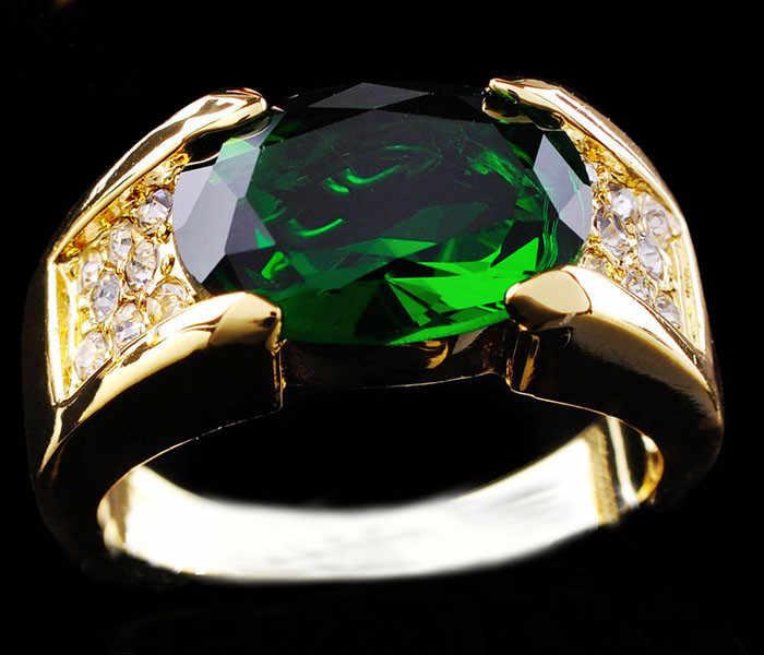 Luxury ชายหญิงใหญ่แหวนหินสีเขียว Gorgeous สีเหลืองทองแหวน Vintage สำหรับบุรุษและสตรี